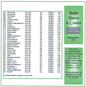 Ballet Barre & Center - Intermediate CD by June Olsson