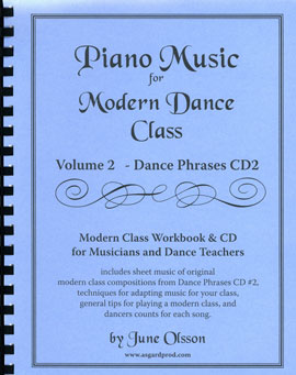 Piano Music for Modern Dance Class Volume 2- Sheet Music Workbook for dance accompanists